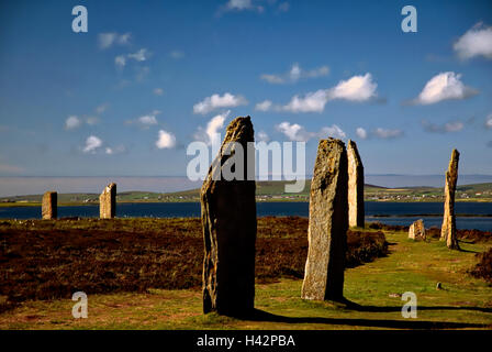 The megalithic archaeological stone circle The Ring of Brodgar mainland island Orkney islands Scotland Great Britain - Stock Image
