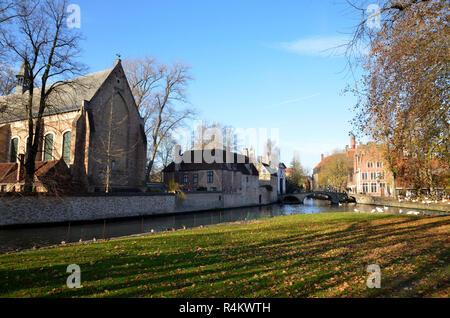 The Beguinage and Minnewater park in Bruges, Belgium - Stock Image
