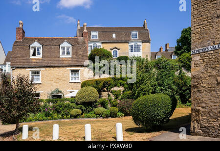 Historic architecture seen from St. Peter's Vale, Stamford, Lincolnshire, UK - Stock Image
