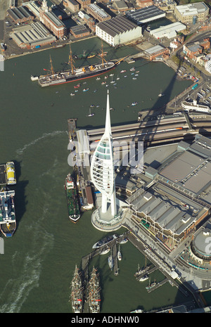 Aerial view of the Spinnaker Tower at Portsmouth Harbour. The tower is situated by the Gunwharf Quays Shopping Centre - Stock Image
