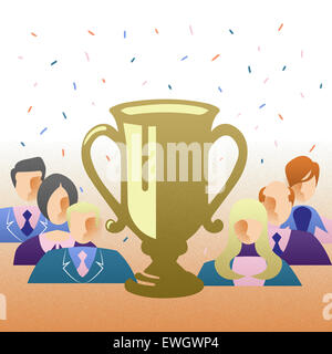 Business Champs at award ceremony waiting to be rewarded for their success in front of trophy - Stock Image