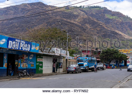 Freshly burnt hills behind town in Jinotega, Nicaragua - Stock Image