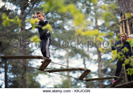 boy on high ropes - Stock Image