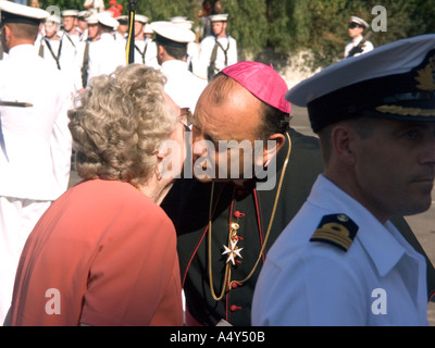 Monsignor Charles Caruana, Bishop of Gibraltar, at the Honorary Freedom of the City of Gibraltar Ceremony, 2004, dignitary - Stock Image