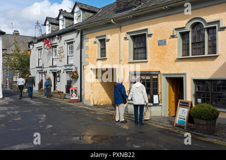 The Red Lion Inn and Beatrix Potter Gallery Hawkshead Cumbria England UK United Kingdom GB Great Britain - Stock Image