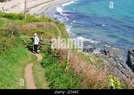 Woman in white jacket walking along the coastal path in spring near Portscatho, Rosalind Peninsula, Cornwall, England, - Stock Image