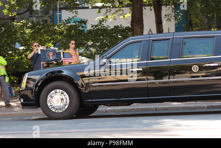 Helsinki, Finland. 16th July 2018. Cadillac limousine 'The Beast' of the President of the United States Credit: Hannu Mononen/Alamy Live News - Stock Image