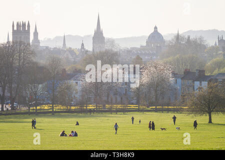 The dreaming spires of Oxford from South Park in the evening light - Stock Image