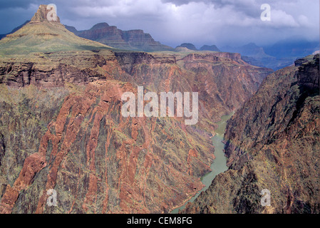 Colorado River and Inner Gorge on Grand Canyon view near Cottonwood Canyon, Grand Canyon National Park, Arizona, - Stock Image