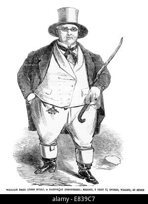 William Ball ( John Bull ) Native of Shropshire 40 stone man circa 1853 - Stock Image