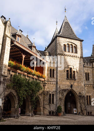 Marienburg Castle, facade of the inner courtyard, balcony,  near Hildesheim, Lower Saxony, Germany - Stock Image