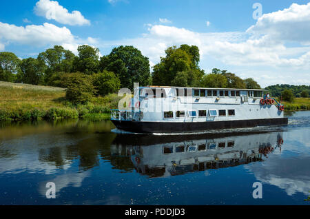 The pleasure boat Teesside Princess on the river Tees at Yarm on a sunny summer's day - Stock Image
