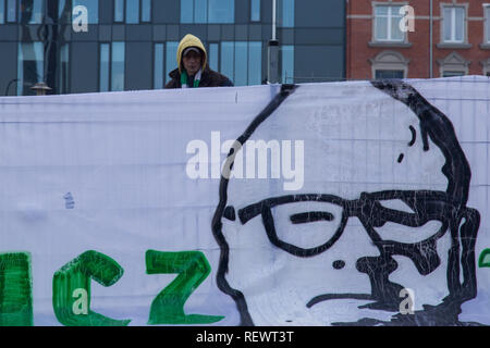 Pawel Adamowicz, murdered mayor of Gdansk on a banner prepared by local football fans – Lechia Gdansk - Stock Image