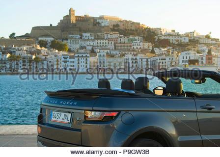 Range Rover Evoque cabrio in Ibiza, Spain. - Stock Image