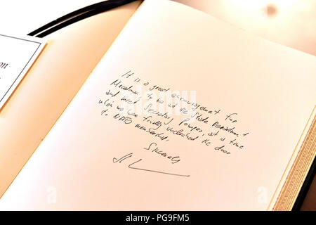 Before a meeting with Secretary of State Michael R. Pompeo, Macedonian Minister of Foreign Affairs Nikola Dimitrov, wrote this message in a guest book at the U.S. Department of State in Washington, DC on August 21, 2018. - Stock Image