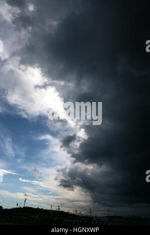 Thunder storm over farm fields Ohio - Stock Image
