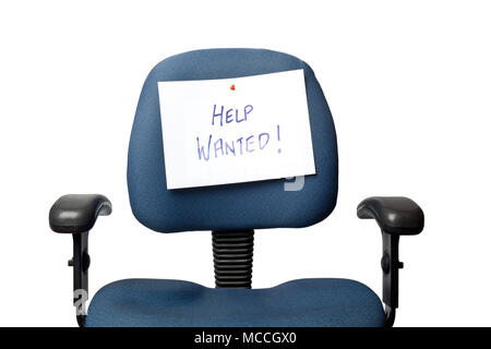 Office chair with a HELP WANTED sign isolated on white background - Stock Image