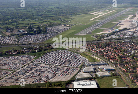 aerial view of car parks around Manchester Airport - Stock Image