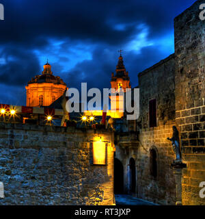 Old Mdina at night, Malta. - Stock Image