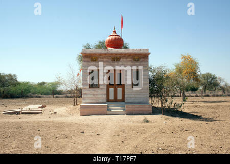 A temple in a rural Bishnoi village in India. The Bishnoi take twenty principles from Hinduism. - Stock Image