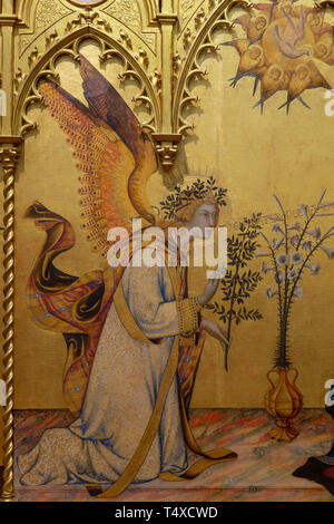 Annunciation with St Ansanus and St. Maxima, The Prophets Jeremiah, Ezekiel, Isaiah and Daniel, detail, Simone Martini and Lippo Memmi, 1333, Galleria - Stock Image