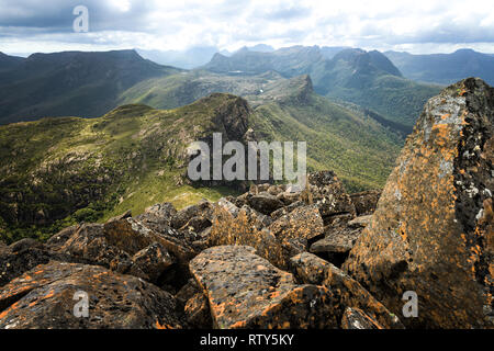 View to the Labyrinth and Du Cane Range from the top of Mount Gould in Cradle Mountain–Lake St Clair National Park, Tasmania - Stock Image
