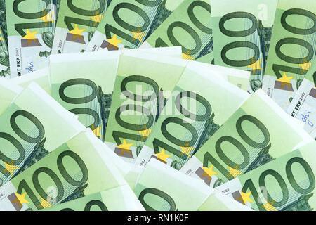 many one hundred eurosbank notes - Stock Image
