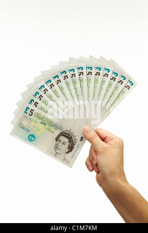 Fan of Five Pound Notes with Hand - Stock Image