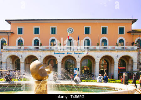 PISA, ITALY - APRIL, 15 2019: the central train station main entrance - Stock Image