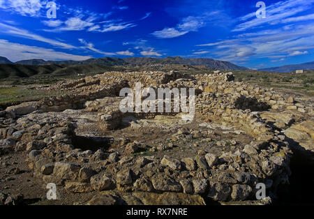 Archaeological site of Los Millares - prehistoric settlement of the Copper Age (3200-2200 BC). Santa Fe de Mondujar. Almeria province. Region of Andal - Stock Image