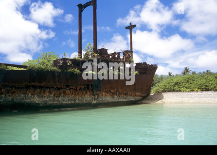 wreck of freighter at Jaluit Atoll in the Marshall Islands - Stock Image