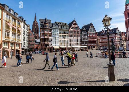 The Ršmer, City Hall of Frankfurt am Main, Ršmerberg Platz, landmark of the city, cathedral, - Stock Image