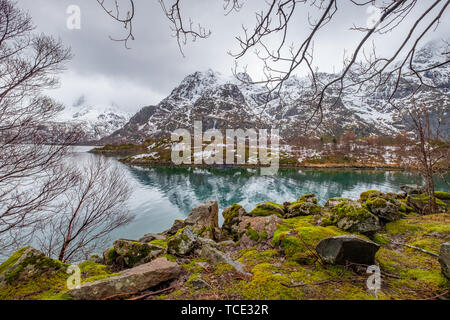 Mountain landscape near Laupstad, Austvagoya, Lofoten, Nordland, Norway - Stock Image