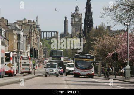 GV of Princess Street in Edinburgh in 2005 Lothian Buses - Stock Image
