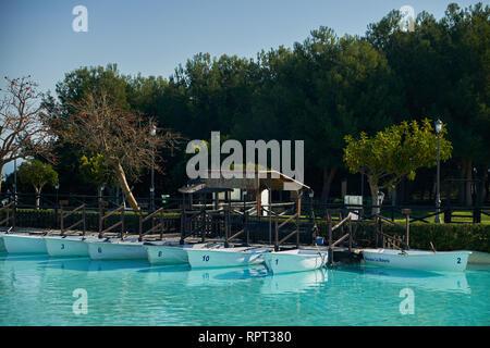 Boats moored. La Batería Park. Torremolinos, Málaga, Spain. - Stock Image