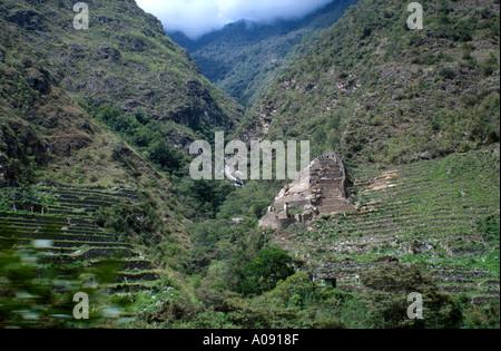 Inca terraces, Machu Picchu, Peru, South America - Stock Image
