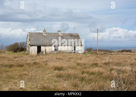 Derelict Cottage in the Irish Countryside in County Clare on the Atlantic West Coast of Ireland - Stock Image