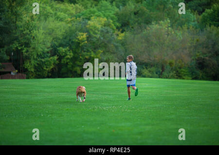 Little boy teenager with his dog bulldog in park on a sunny day on green grass park land enjoy life together with his friend. - Stock Image