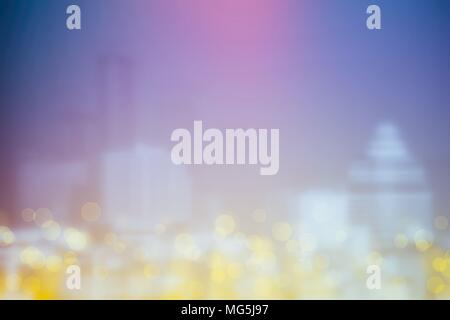 Abstract Yellow Bokeh with Blurred Cityscape Background. - Stock Image