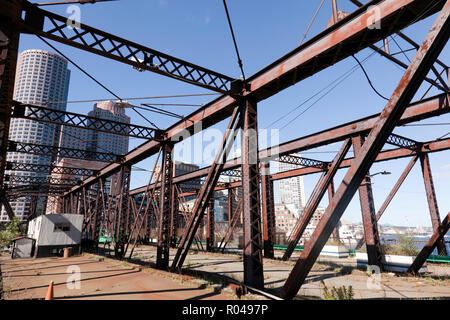 View of the Northern Avenue Bridge,  that spans Fort Point Channel Boston, Massachusetts - Stock Image
