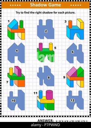 IQ training visual puzzle or picture riddle: Try to find the right shadow for every building blocks construction. Answer included. - Stock Image
