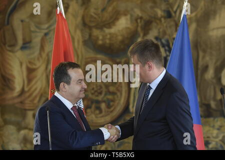 Prague, Czech Republic. 23rd Apr, 2019. Serbian Foreign Minister Ivica Dacic (left) and his Czech counterpart Tomas Petricek speak during the briefing on meeting in Prague, Czech Republic, April 23, 2019. Credit: Ondrej Deml/CTK Photo/Alamy Live News - Stock Image