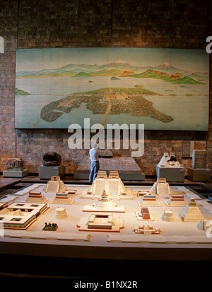 Model of the Ancient Aztec City of Tenochitlan, the Site of Modern Day Mexico City, National Museum of Anthropology, - Stock Image