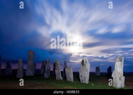 PICTURE CREDIT DOUG BLANE Callanish Stone Circle at night during full moon Isle of Lewis Outer Hebrides Western - Stock Image