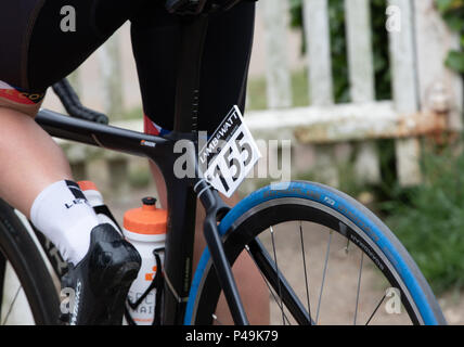 Rider's race number at the start of the Ovo Women's Tour - Stock Image