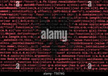 Albania flag  is depicted on the screen with the program code. The concept of modern technology and site development. - Stock Image