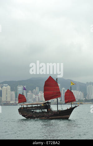 A traditional style tourist boat, known as a Junk, on Victoria harbour. Hong Kong, China - Stock Image