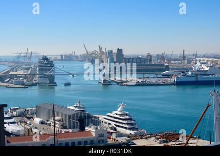 Barcelona, Spain, October 2018. The Port of Barcelona seen from the port cable car on a hot sunny afternoon. - Stock Image
