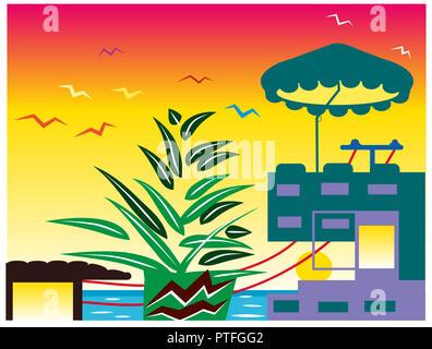 Summery.  Beautiful summerhouse near the sea and sunrise. illustration of summery and sea background. - Stock Image