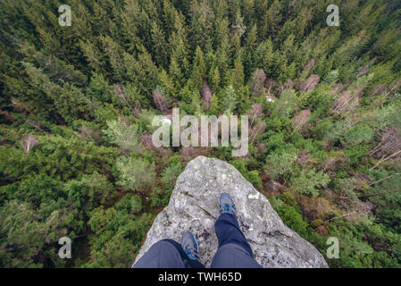 Aerial view from Ostas mountain Nature Reserve in Table Mountains range in Czech Republic - Stock Image